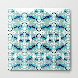 Hippopotamus Blue Metal Print