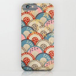 Vintage Japanese Papers: Graceful Half-Circle Pattern iPhone Case