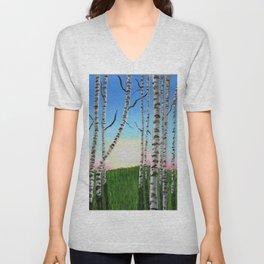 Birch Trees at Sunset Unisex V-Neck