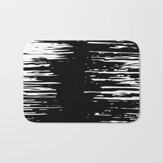 Splash White on Black Bath Mat