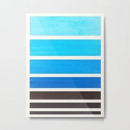Cerulean Blue Minimalist Watercolor Mid Century Staggered Stripes Rothko Color Block Geometric Art Metal Print