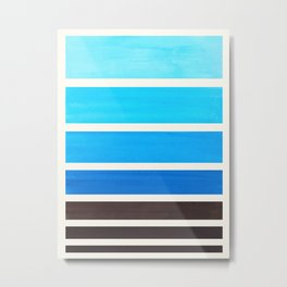 Cerulean Blue Minimalist Watercolor Mid Century Staggered Stripes Rothko Color Block Geometric Art Metal Print