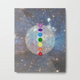 Color Chakra Flower of Life Healing Metal Print