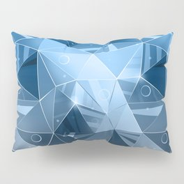 Abstract polygonal pattern.Blue, grey triangles. Pillow Sham