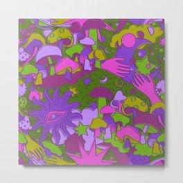 Magical Mushroom World in Psychedelic Grape + Green Metal Print