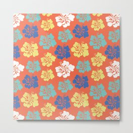 Hibiscus flower silhouettes. Yellow, royal blue and aqua blue Hawaiian hibiscus flowers on an orange background. Vintage inspired. Metal Print