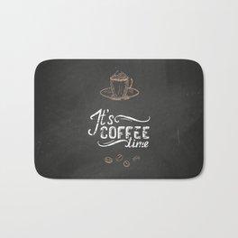 Coffee blackboard lettering — It's coffee time Bath Mat
