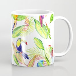 tropical pattern with parrots and toucan Coffee Mug