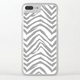 Chevron stripes zebra pattern minimal grey and white basic pattern nursery home decor Clear iPhone Case