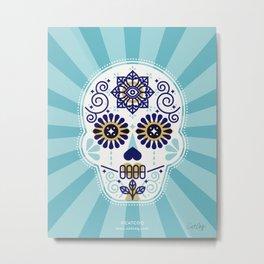 Día de Muertos • Mexican Sugar Skull – Baby Blue Palette Metal Print