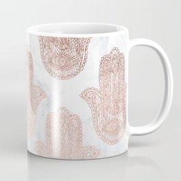 Modern rose gold floral lace hamsa hands white marble illustration pattern Coffee Mug