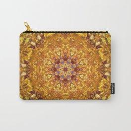 Orange Yellow chakra Print Meditation art Positive vibe Intention Symbol, Mandala yoga studio leaf Carry-All Pouch