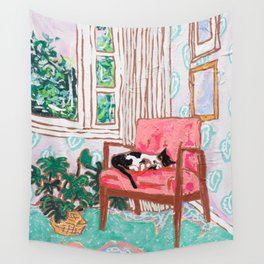 Little Naps - Tuxedo Cat Napping in a Pink Mid-Century Chair by the Window Wall Tapestry
