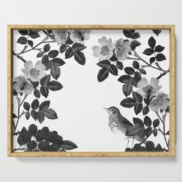 Birds and the Bees Black and White Serving Tray