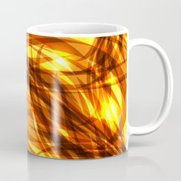 Saturated gold and smooth sparkling lines of metal ribbons on the theme of space and abstraction. Coffee Mug