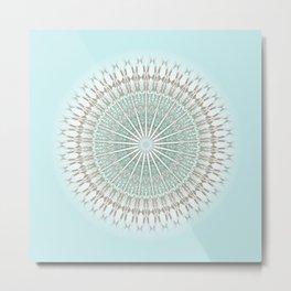 Turquoise Taupe Mandala Metal Print