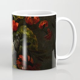 """Ernst Stuven """"A sunflower, carnations, roses, tulips and other flowers in a glass vase on a marble"""" Coffee Mug"""