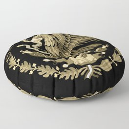 Mexican flag seal in sepia tones on black bg Floor Pillow