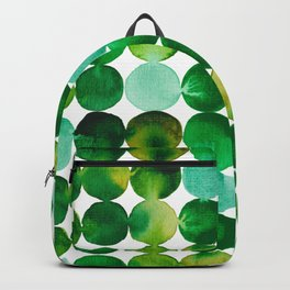Green Watercolor Circles Pattern Backpack