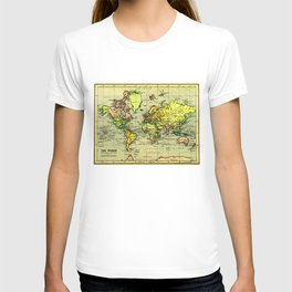 Vintage Map of The World (1899) - Stylized T-shirt