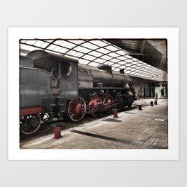 steam locomotive inside the train station Art Print