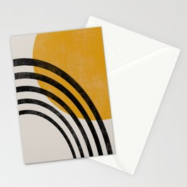 Rainbow and Sun Mid century shapes Stationery Cards