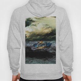 Abandoned Ship on the water portrait Hoody