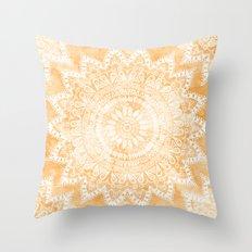 TANGERINE BOHO FLOWER MANDALA Throw Pillow