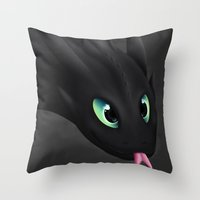 toothless Throw Pillows featuring Toothless by Alkraas