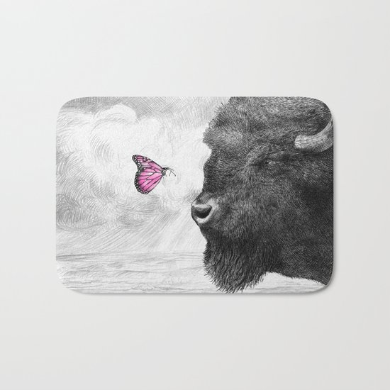 Bison and Butterfly Bath Mat