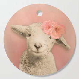 Flower Sheep Girl Portrait, Dusty Flamingo Pink Background Cutting Board