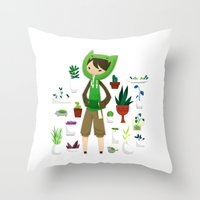plants Throw Pillows featuring Plants by Zennore