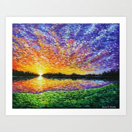 Sunset By the Lake Art Print