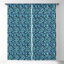 Blue Watercolor Coral Reef on a Black Background Blackout Curtain