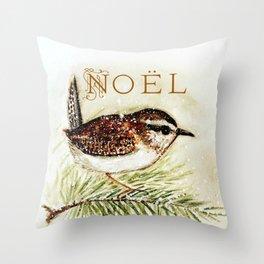 noel wren - watercolor Throw Pillow