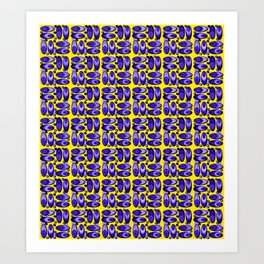 Bluemussel pattern in blue and yellow Art Print