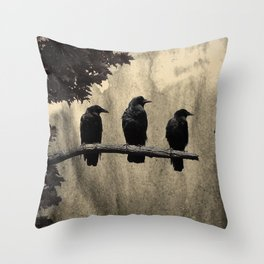 Three Like Minded Crows Throw Pillow