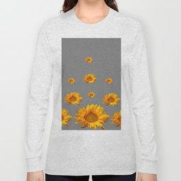 RAINING GOLDEN YELLOW SUNFLOWERS GREY Long Sleeve T-shirt