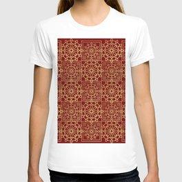 Gold geometric tiles pattern on red T-shirt