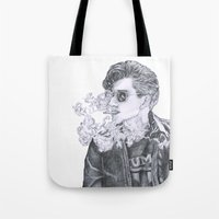 alex turner Tote Bags featuring Alex Turner by Anja-Catharina
