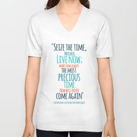 "picard V-neck T-shirts featuring ""Live now; make now always the most precious time. Now will never come again"" Captain Picard by Elizabeth Cakovan"