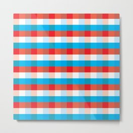 Tricolor Checkered Pattern Metal Print