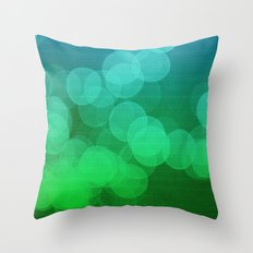 Blue Green Ombre Bokeh Throw Pillow