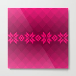 Pink knitted pattern Metal Print