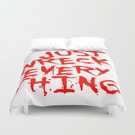 Just Wreck Everything Bright Red Grunge Graffiti Duvet Cover