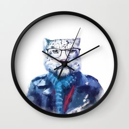 Watercolor Hipster Cat Wall Clock
