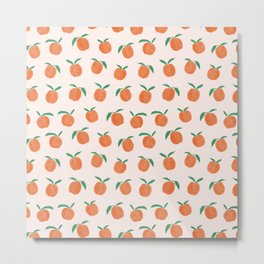 Peaches and Cream Summer Fruit Pattern Metal Print