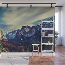 Yosemite Valley and Waterfall in Autumn Wall Mural