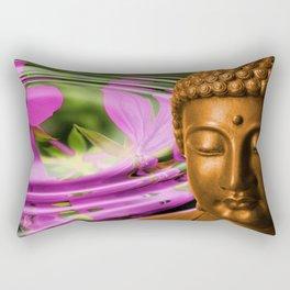 Buddha Head & Flowers in Rippling Water Rectangular Pillow