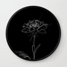 Rose line drawing - Lorna Black Wall Clock